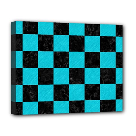 Square1 Black Marble & Turquoise Colored Pencil Deluxe Canvas 20  X 16
