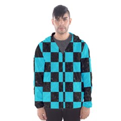 Square1 Black Marble & Turquoise Colored Pencil Hooded Wind Breaker (men)