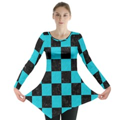 Square1 Black Marble & Turquoise Colored Pencil Long Sleeve Tunic