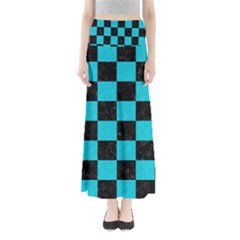 Square1 Black Marble & Turquoise Colored Pencil Full Length Maxi Skirt