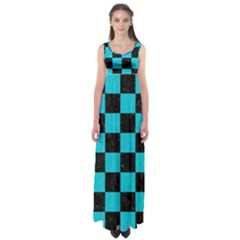 Square1 Black Marble & Turquoise Colored Pencil Empire Waist Maxi Dress