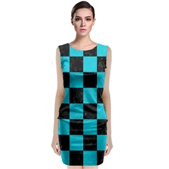 Square1 Black Marble & Turquoise Colored Pencil Classic Sleeveless Midi Dress