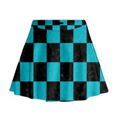 Square1 Black Marble & Turquoise Colored Pencil Mini Flare Skirt