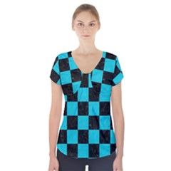 Square1 Black Marble & Turquoise Colored Pencil Short Sleeve Front Detail Top
