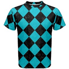 Square2 Black Marble & Turquoise Colored Pencil Men s Cotton Tee
