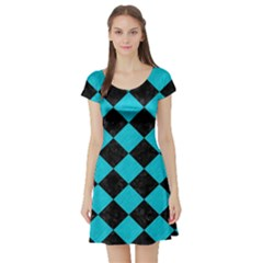 Square2 Black Marble & Turquoise Colored Pencil Short Sleeve Skater Dress