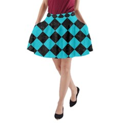 Square2 Black Marble & Turquoise Colored Pencil A Line Pocket Skirt
