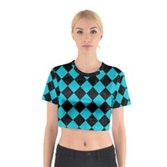 Square2 Black Marble & Turquoise Colored Pencil Cotton Crop Top