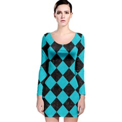 Square2 Black Marble & Turquoise Colored Pencil Long Sleeve Velvet Bodycon Dress