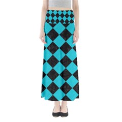 Square2 Black Marble & Turquoise Colored Pencil Full Length Maxi Skirt
