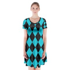 Square2 Black Marble & Turquoise Colored Pencil Short Sleeve V Neck Flare Dress