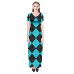 Square2 Black Marble & Turquoise Colored Pencil Short Sleeve Maxi Dress