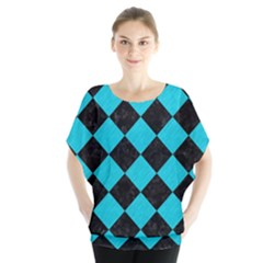 Square2 Black Marble & Turquoise Colored Pencil Blouse