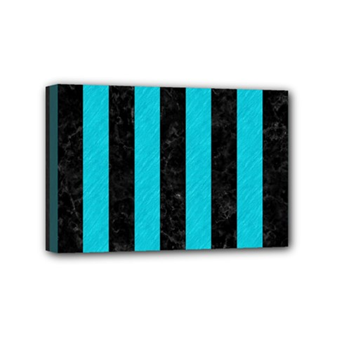 Stripes1 Black Marble & Turquoise Colored Pencil Mini Canvas 6  X 4