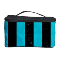 Stripes1 Black Marble & Turquoise Colored Pencil Cosmetic Storage Case
