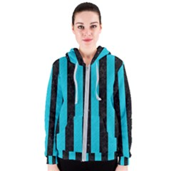 Stripes1 Black Marble & Turquoise Colored Pencil Women s Zipper Hoodie