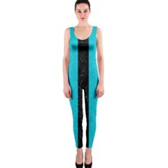 Stripes1 Black Marble & Turquoise Colored Pencil Onepiece Catsuit