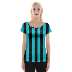 Stripes1 Black Marble & Turquoise Colored Pencil Cap Sleeve Tops