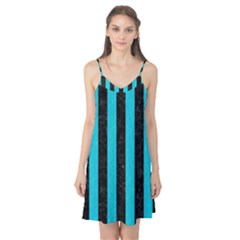Stripes1 Black Marble & Turquoise Colored Pencil Camis Nightgown