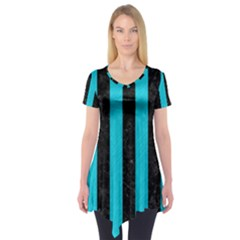 Stripes1 Black Marble & Turquoise Colored Pencil Short Sleeve Tunic