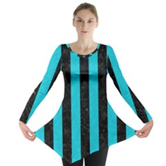 Stripes1 Black Marble & Turquoise Colored Pencil Long Sleeve Tunic