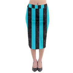 Stripes1 Black Marble & Turquoise Colored Pencil Midi Pencil Skirt