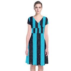 Stripes1 Black Marble & Turquoise Colored Pencil Short Sleeve Front Wrap Dress