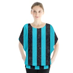 Stripes1 Black Marble & Turquoise Colored Pencil Blouse