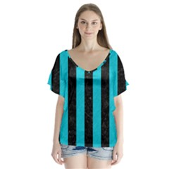 Stripes1 Black Marble & Turquoise Colored Pencil V Neck Flutter Sleeve Top
