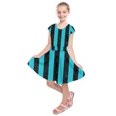 Stripes1 Black Marble & Turquoise Colored Pencil Kids  Short Sleeve Dress