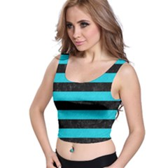 Stripes2 Black Marble & Turquoise Colored Pencil Crop Top