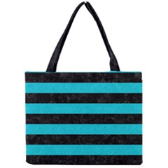 Stripes2 Black Marble & Turquoise Colored Pencil Mini Tote Bag