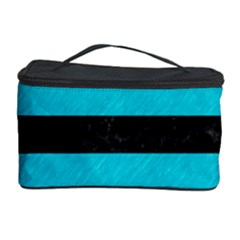 Stripes2 Black Marble & Turquoise Colored Pencil Cosmetic Storage Case