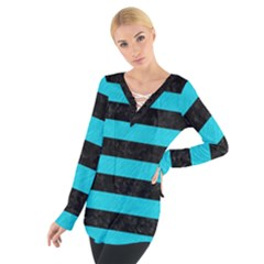 Stripes2 Black Marble & Turquoise Colored Pencil Tie Up Tee
