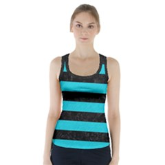 Stripes2 Black Marble & Turquoise Colored Pencil Racer Back Sports Top