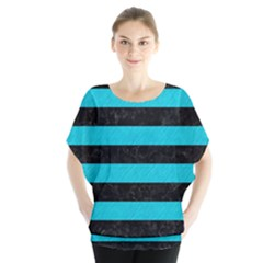 Stripes2 Black Marble & Turquoise Colored Pencil Blouse