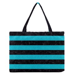Stripes2 Black Marble & Turquoise Colored Pencil Zipper Medium Tote Bag