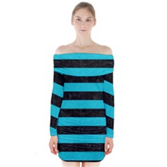 Stripes2 Black Marble & Turquoise Colored Pencil Long Sleeve Off Shoulder Dress