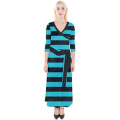 Stripes2 Black Marble & Turquoise Colored Pencil Quarter Sleeve Wrap Maxi Dress