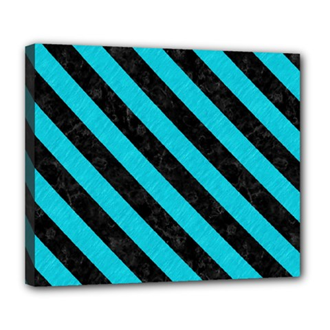 Stripes3 Black Marble & Turquoise Colored Pencil Deluxe Canvas 24  X 20