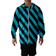 Stripes3 Black Marble & Turquoise Colored Pencil Hooded Wind Breaker (kids)