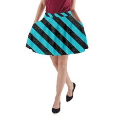 Stripes3 Black Marble & Turquoise Colored Pencil A Line Pocket Skirt