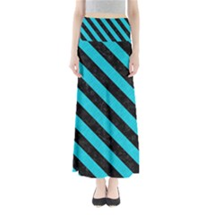 Stripes3 Black Marble & Turquoise Colored Pencil Full Length Maxi Skirt