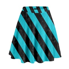 Stripes3 Black Marble & Turquoise Colored Pencil High Waist Skirt
