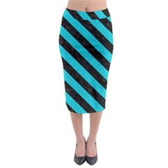 Stripes3 Black Marble & Turquoise Colored Pencil Midi Pencil Skirt