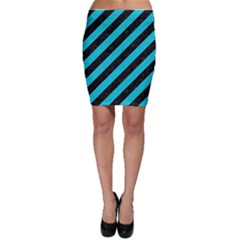 Stripes3 Black Marble & Turquoise Colored Pencil (r) Bodycon Skirt