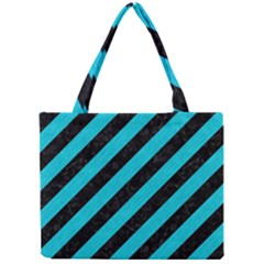 Stripes3 Black Marble & Turquoise Colored Pencil (r) Mini Tote Bag