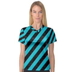 Stripes3 Black Marble & Turquoise Colored Pencil (r) V Neck Sport Mesh Tee