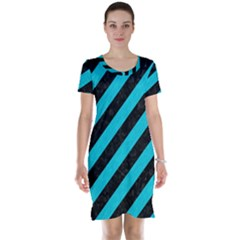 Stripes3 Black Marble & Turquoise Colored Pencil (r) Short Sleeve Nightdress