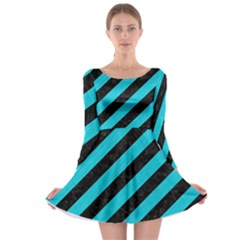 Stripes3 Black Marble & Turquoise Colored Pencil (r) Long Sleeve Skater Dress